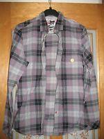 Mens River Island pink/grey/black check long sleeve shirt in size small