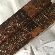 1759 Antique Leather Bound Les Caracteres La Bruyere 2 Volumes Book French