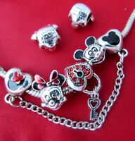 DISNEY MICKEY MOUSE MINNIE CHARMS CRYSTAL SAFETY CHAIN  HEART LOCK + Pouch
