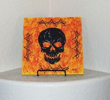 Screaming Skull/Flames/Barbed Wire Flagstone Painting By Elissa Shakal W/Easel