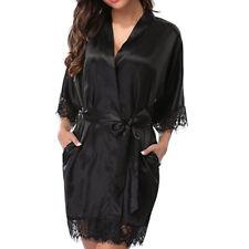 Women's Bathrobes Satin Robe Nightgown Sleepwear Pajamas Lingerie Night Dress
