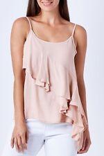 Sass BNWT Pastel Nude Dusty Pink Ruffle Viscose Strap Womens Top Size 8