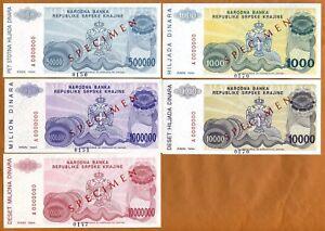 Specimen Set, Croatia, Knin, R30s-R31s-R32s-R33s-R34s, 1994, aUNC-UNC