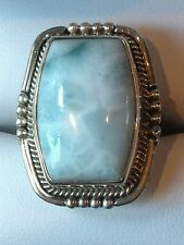 DREAMY 16.16 CT LARIMAR ARTISAN CRAFTED RING IN STERLING SILVER, SZ 6