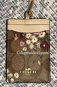 NEW COACH ID LANYARD SIGNATURE CANVAS W/EVERGREEN FLORAL PRINT 6855 P1