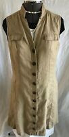 Chicos Boho Safari Women's size 1 Khaki Tan Linen Dress Smock Vest
