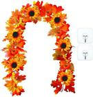 Artificial 6ft Maple Leaf Garland With Sunflowers Autumn Fall Hanging Vine Decor