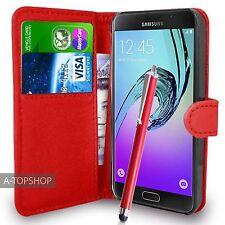 Rouge étui porte-feuille Cuir PU Livre Housse Pour Samsung Galaxy A5 2016 A510