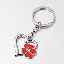 1 x Heart & Flower Keyring Alloy & Enamel Charm With Rhinestone 90mm Keychain