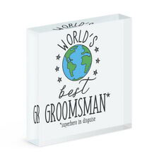 World's Best Groomsman Acrylic Photo Block Frame Funny Favourite Wedding Favour