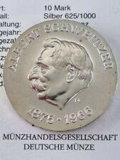 DDR 10 Mark von 1975 Gedenkmünze Albert Schweitzer Silber MDM
