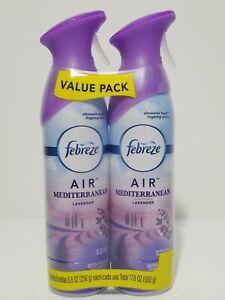 2 Pack Febreze Air Effects Air Freshener Mediterranean Lavender 8.8 oz each