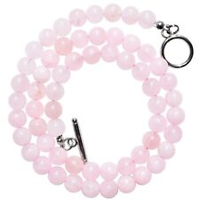 "CHARGED Premium Rose Quartz 8mm Bead 21"" Necklace + Baby Selenite Puffy Heart"