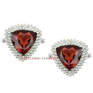 Natural Garnet & CZ Gemstones With 925 Sterling Silver Cufflinks For Men's