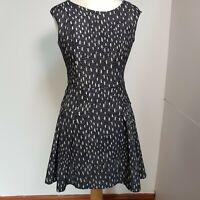 Zara Spots Polka Dot Skater Dress Navy White M Size 10 UK Womens Ladies Stretchy