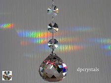 Hanging Crystal Ball Suncatcher Feng Shui Rainbow Prism with Swarovski Octagons