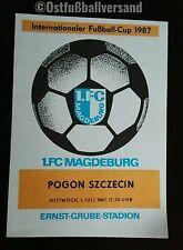 TOP! Programm 1.FC Magdeburg Pogon Szczecin  IFC Cup 87 DDR Polska Polen program