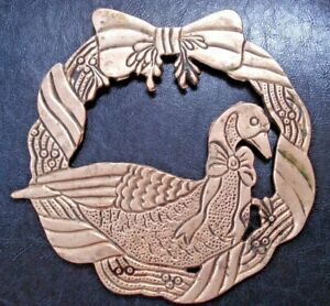 Vintage Holiday Wreath w/ Goose/Duck Inside Wreath Solid Brass Trivet - 3 foot