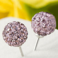 6mm Unisex Women Shamballa Premium Crystal Silver Ear Stud Earring Disco Ball