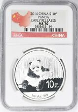 China 2014 Silver 10 Yuan Panda Early Releases NGC MS-70 MS70