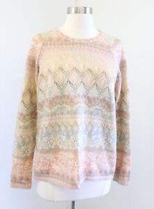 Postmark Anthropologie Faded Vintage Floral Print Pullover Sweater Size L Peach