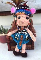 Crochet Amigurumi Thailand Hill Tribe Toy Handmade Doll Blue