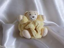 Doudou ours plume jaune, attache tétine, Kaloo