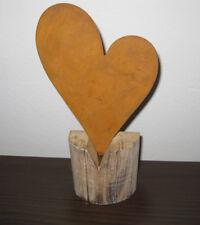 Herz zum Stellen Metall Holz  cm Deko braun natur 23 cm exklusiv Hochzeit Gesche