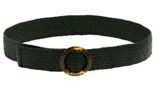 Womens Wide Black Fashion Grass Weave  Buckle Belt Tortoiseshell Style Buckle