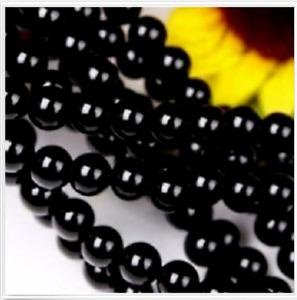 "AAAA 6mm Black Agate Onyx Round Loose Beads Gemstone 15""AAA++++"