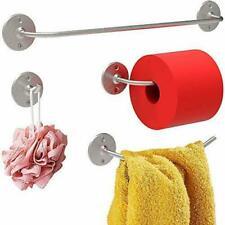 4Pc Bathroom Hardware Set Robe Hook Towel Bar Toilet Paper Holder Brushed Nickel