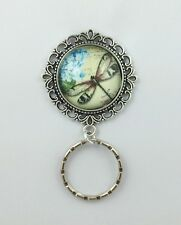 Dragonfly w/ Forget-me-nots Magnetic Badge Eyeglass Holder, Magnetic Pin Brooch