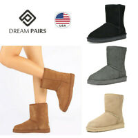 DREAM PAIRS Womens Faux Fur Lined Suede Mid Calf Warm Snow Boots