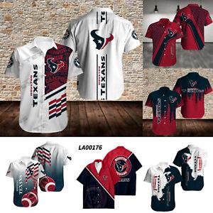 Houston Texans Men's Casual Football Button Down Shirts Short Sleeves S-5XL