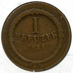 1811 German States Baden Coin 1 Kreuzer BK37