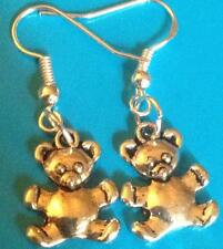 Tibetan Silver Teddy Bear Dangle Earrings/ Sterling Hooks/Rubber Safety Backs