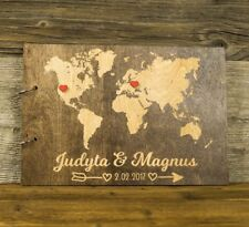 Personalized Wooden Wedding Guest Book, Rustic, World Map, Gift, Newlyweds