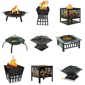 UK OUTDOOR FIRE PIT GARDEN FIRE PIT CAMPING PATIO HEATER LARGE LOG BURNER BBQ UK