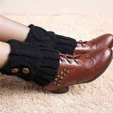 Women Fashion Crochet Knitted Button Cuffs Toppers Ladies Leg Warmers Boot Socks