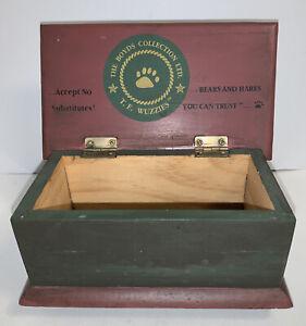 Boyds Bears T F Wuzzies Toy Bear Blanket Chest Green Wooden Box Logo Trunk