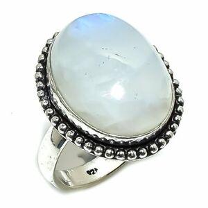 Rianbow Moonstone Gemstone Handmade 925 Silver Ring Size 8
