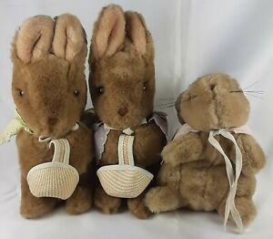 Vintage Beatrix Potter Peter Rabbit Floppy Mopsy Cottentail Plush Toy Animal