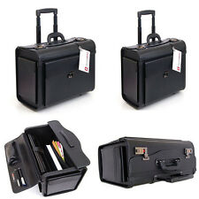 Leather Laptop Travel Bag Wheels Attache Lawyers Case Storage Briefcase Rolling