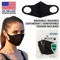 (3PCS) Washable/Reusable/Comfortable Fashion Protective Face Mask (Black)