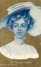 Postcard Gibson-like Girl - The College Widow - Gold Background - used 1909