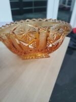 Vintage Imperial Carnival Glass MARIGOLD Bowl_Sawtooth Edge_Iridescent_Starburst