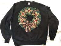 Vintage Ugly Christmas Sweater Jerzees Bejeweled Wreath Size XL