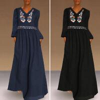 Women Autumn Oversize Kaftan Printed Floral Long Sleeve Holiday Long Maxi Dress