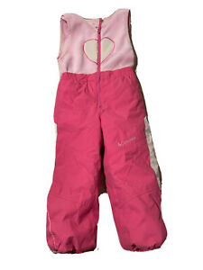 Columbia Pink Insulated Snow Pants Bib Outgrown System Size 4 T Girls