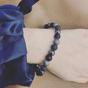 Damen Armband aus vulkanischen Steinperlen Handgemacht Schwarz